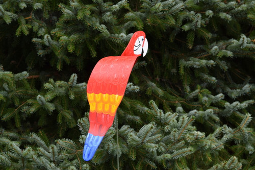 "Royal Scarlet Macaw dancing garden art that moves with the wind atop a 35"" stake, made in Michigan, USA."