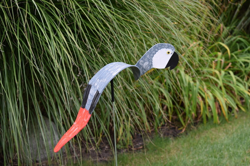 "Royal African Grey Parrot dancing garden art that moves with the wind atop a 35"" stake, made in Michigan, USA."