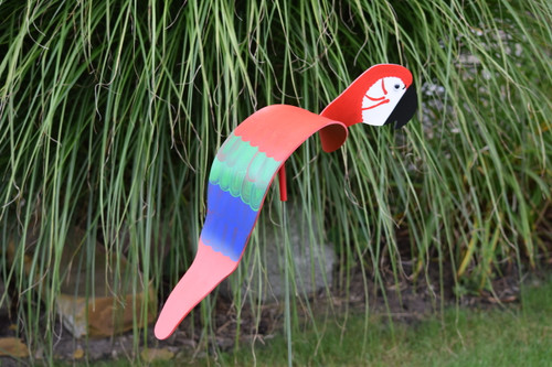 "Red Macaw dancing garden art that moves with the wind atop a 35"" stake, made in Michigan, USA."