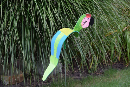 "Green Macaw dancing garden art that moves with the wind atop a 35"" stake, made in Michigan, USA."