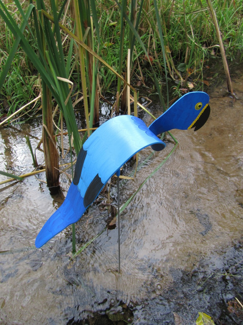 """Blue Macaw dancing garden art that moves with the wind atop a 35"""" stake, made in Michigan, USA."""