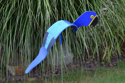 "Blue Macaw dancing garden art that moves with the wind atop a 35"" stake, made in Michigan, USA."
