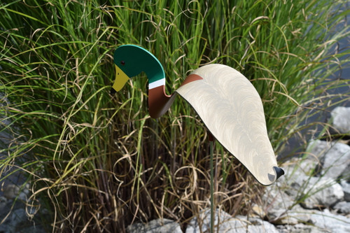 """Mallard Duck dancing garden art that moves with the wind atop a 35"""" stake, made in Michigan, USA."""