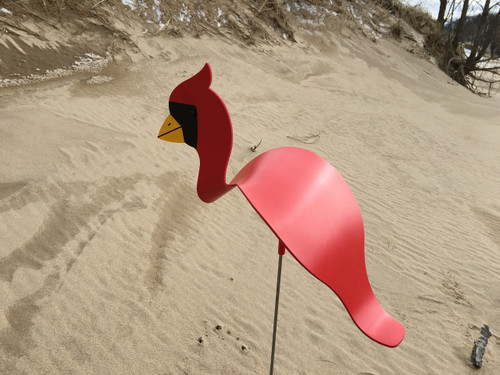 """Cardinal dancing garden art that moves with the wind atop a 35"""" stake, made in Michigan, USA."""