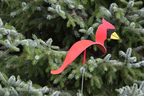 "Cardinal dancing garden art that moves with the wind atop a 35"" stake, made in Michigan, USA."