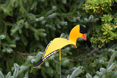 "Goldfinch dancing garden art that moves with the wind atop a 35"" stake, made in Michigan, USA."