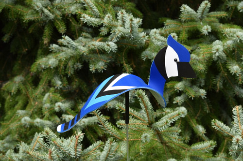 "Blue Jay dancing garden art that moves with the wind atop a 35"" stake, made in Michigan, USA."