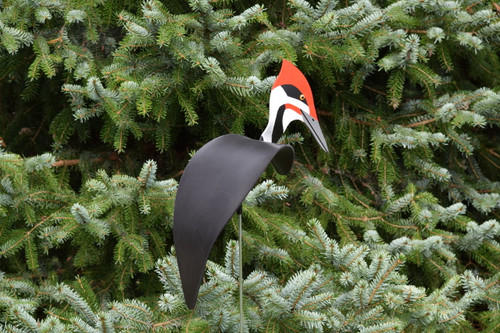 "Pileated Woodpecker dancing garden art that moves with the wind atop a 35"" stake, made in Michigan, USA."