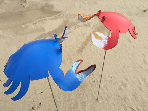 "Crab dancing garden art that moves with the wind atop a 35"" stake, made in Michigan, USA."