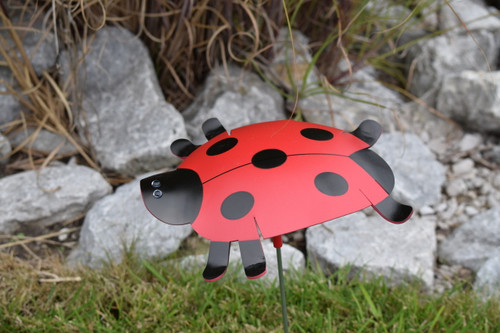 """Ladybug dancing garden art that moves with the wind atop a 17.5"""" stake, made in Michigan, USA."""