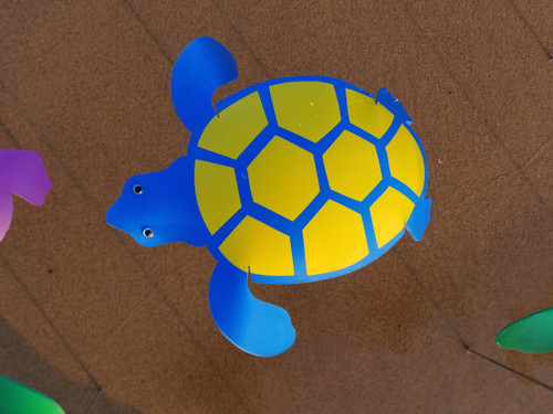 """Blue Turtle with Yellow Shell dancing garden art that moves with the wind atop a 17.5"""" stake, made in Michigan, USA."""