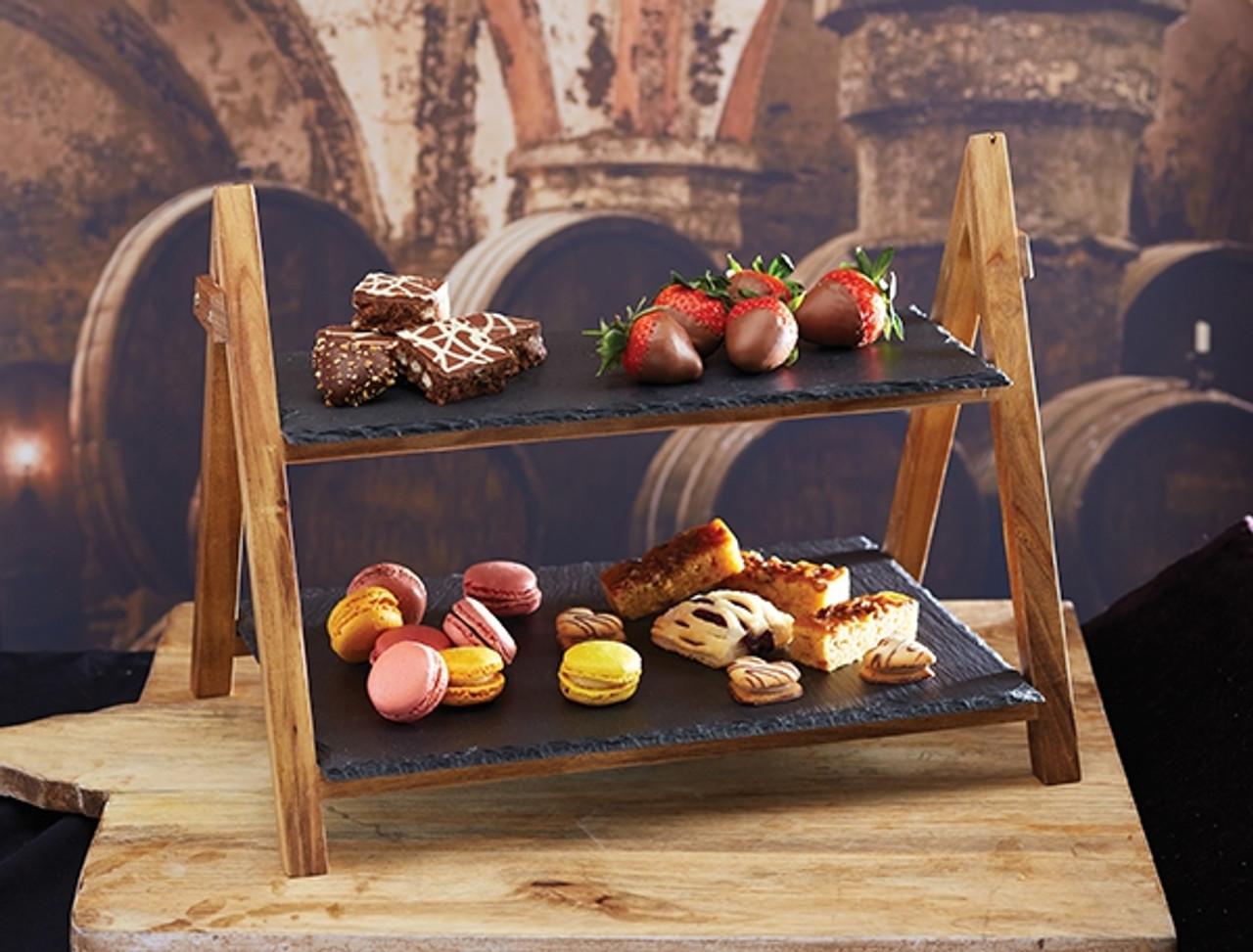 SLATE 2 TIER CAKE STAND (ARTESA)
