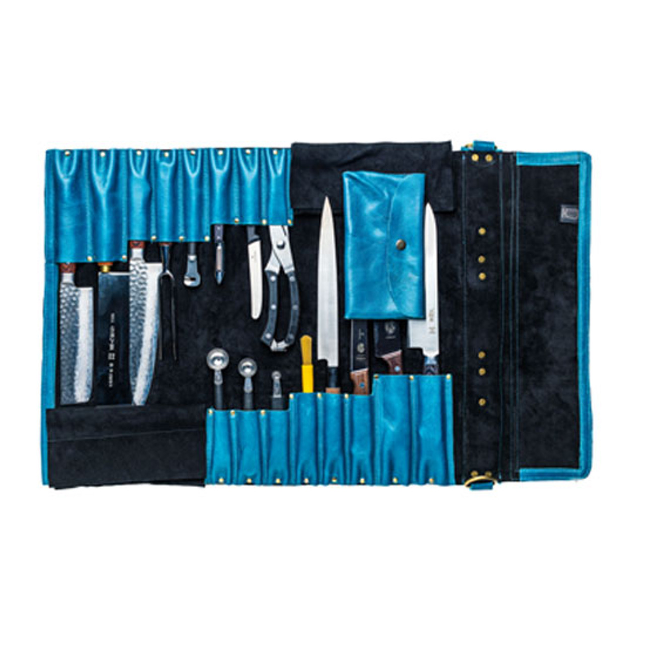 Chefi Leather Knife Roll - Blue