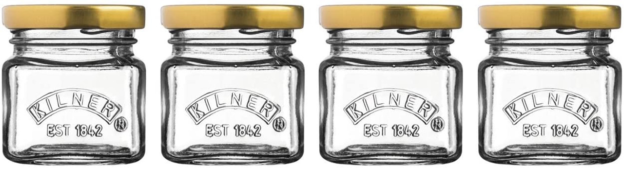 KILNER SHOT JARS WITH LIDS x4