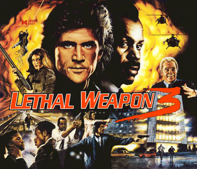 Lethal Weapon 3 replacement Pinball Translite