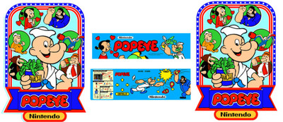 Popeye Arcade 4 piece graphic restore kit