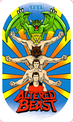 Altered Beast Video Arcade Side Art - black dot and depressions