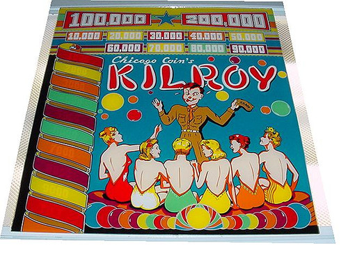 Chicago coin Pinball Kilroy backglass graphic