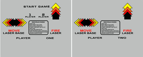 Space Invaders Cocktail Control Panel Overlay LONG set