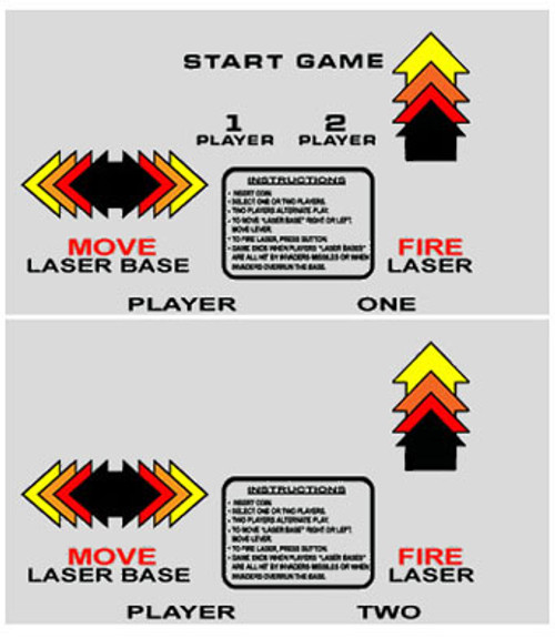 Space Invaders Cocktail Control Panel Overlay set