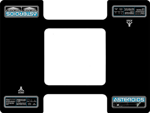 Atari Asteroids Custom Cocktail Bezel Underlay