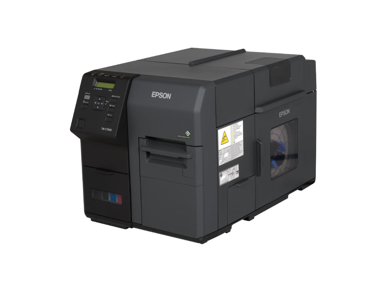 "Epson TM-C7500 color label printer has an integrated label unwinder, accomodating label rolls up to 8""  OD."