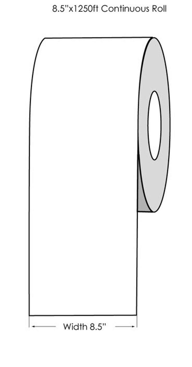 "Laser 8.5"" x 1250ft White Matte Label Roll"