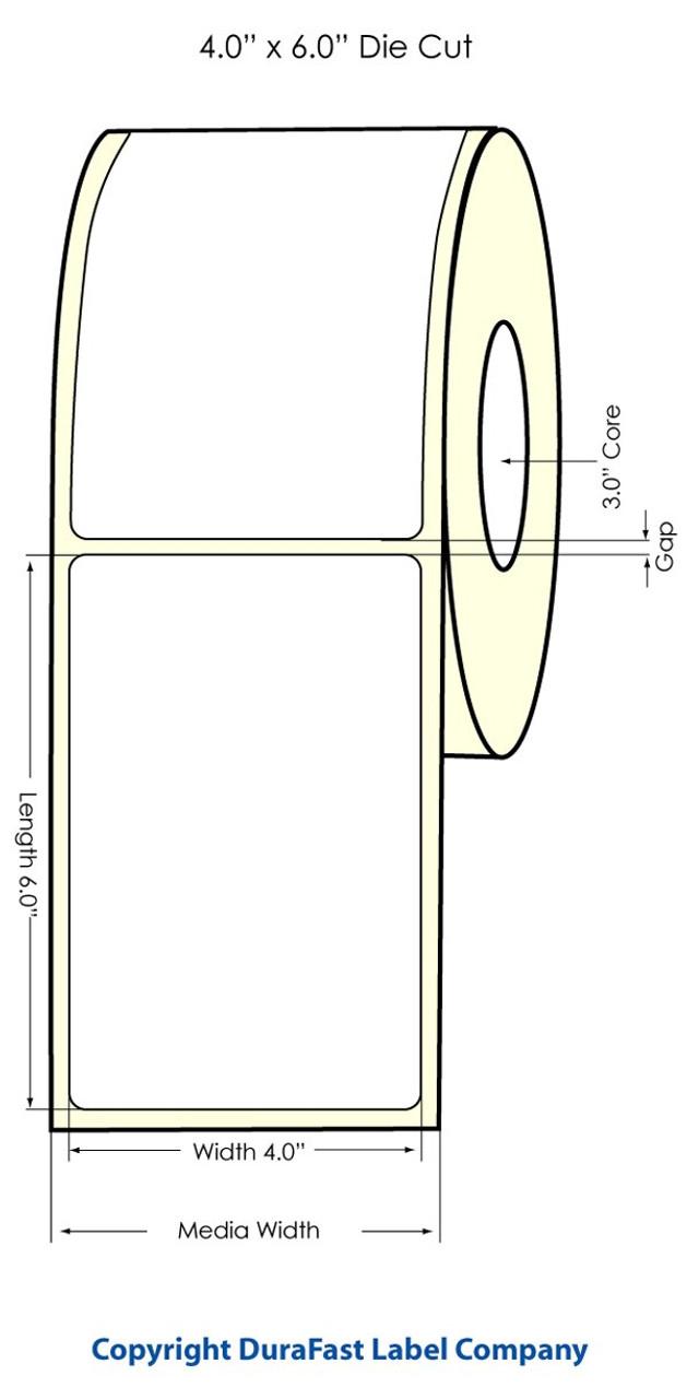 "LX900 4"" x 6"" High Gloss Paper Labels 400/Roll"