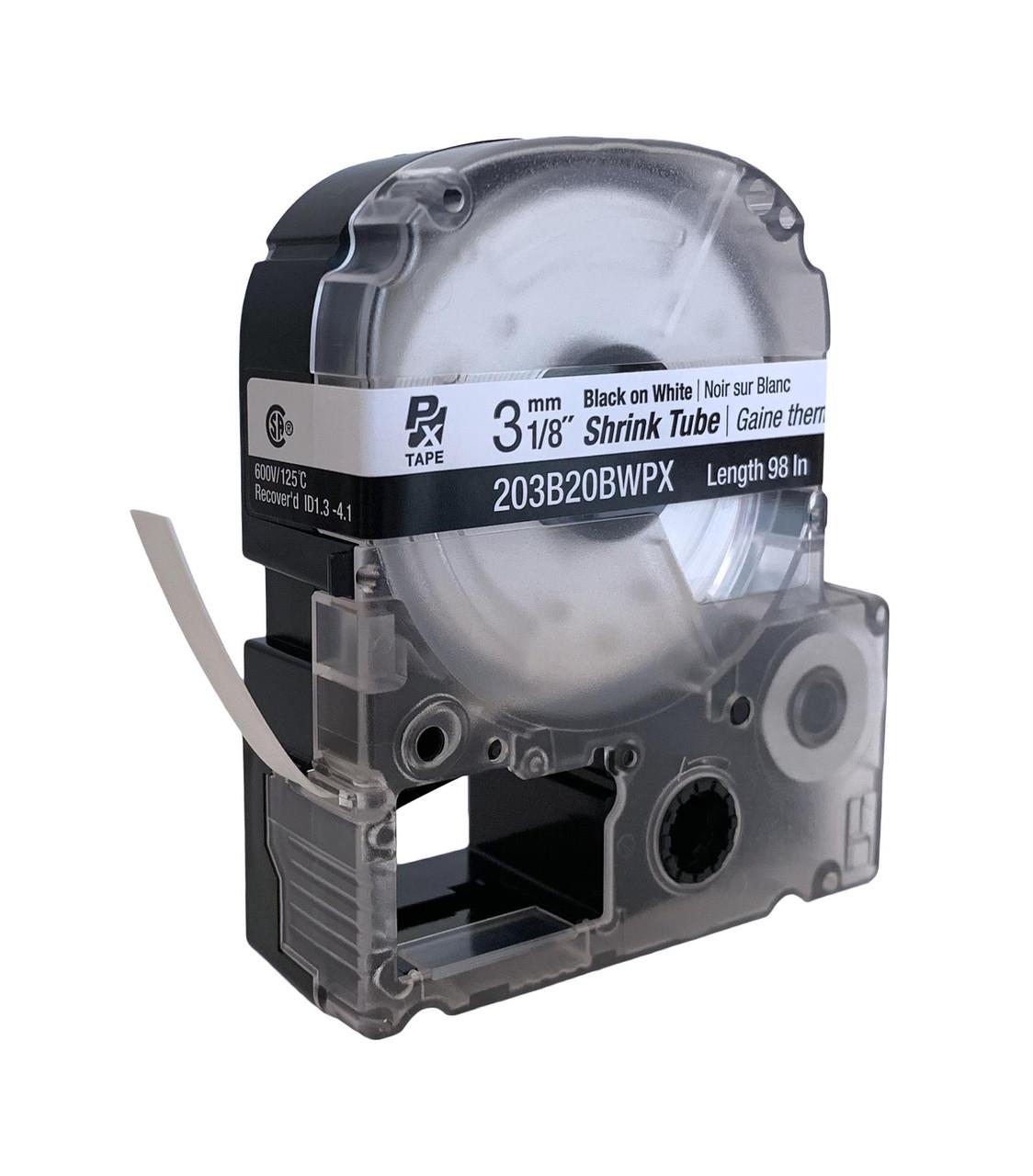 "Epson/K-SUN 203B20BWPX BLK ON WHT PX Label Tape 1/8""/3MM Shrink Tube Tape"