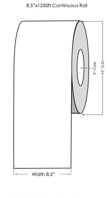 "Laser 8.5"" x 1250ft White High Gloss Paper Label Roll"