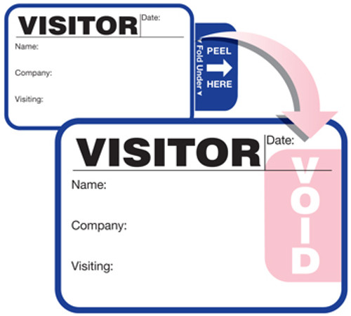 "VisitorPass 4"" x 2"" TAB Expiring Direct Thermal Name Badges (VDTT4)"