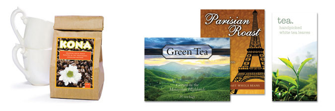 Coffee Labels, Tea Labels printed with LX900
