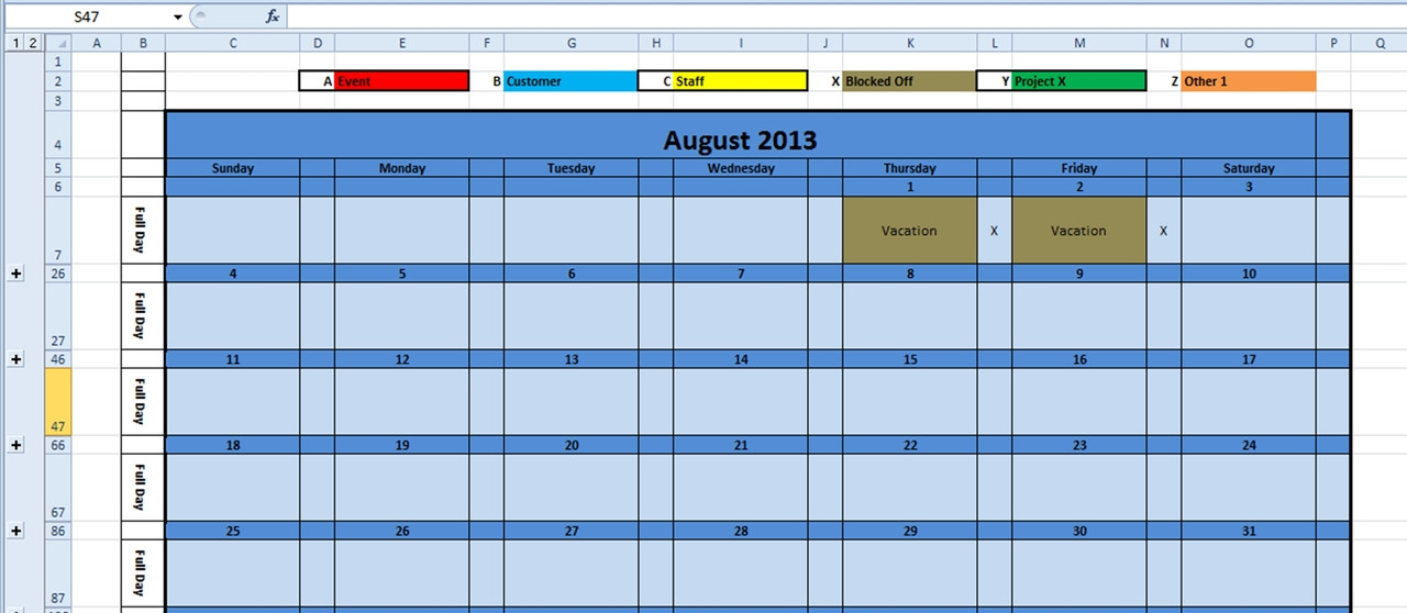 Printable Monthly Calendar 2020 Excel Template