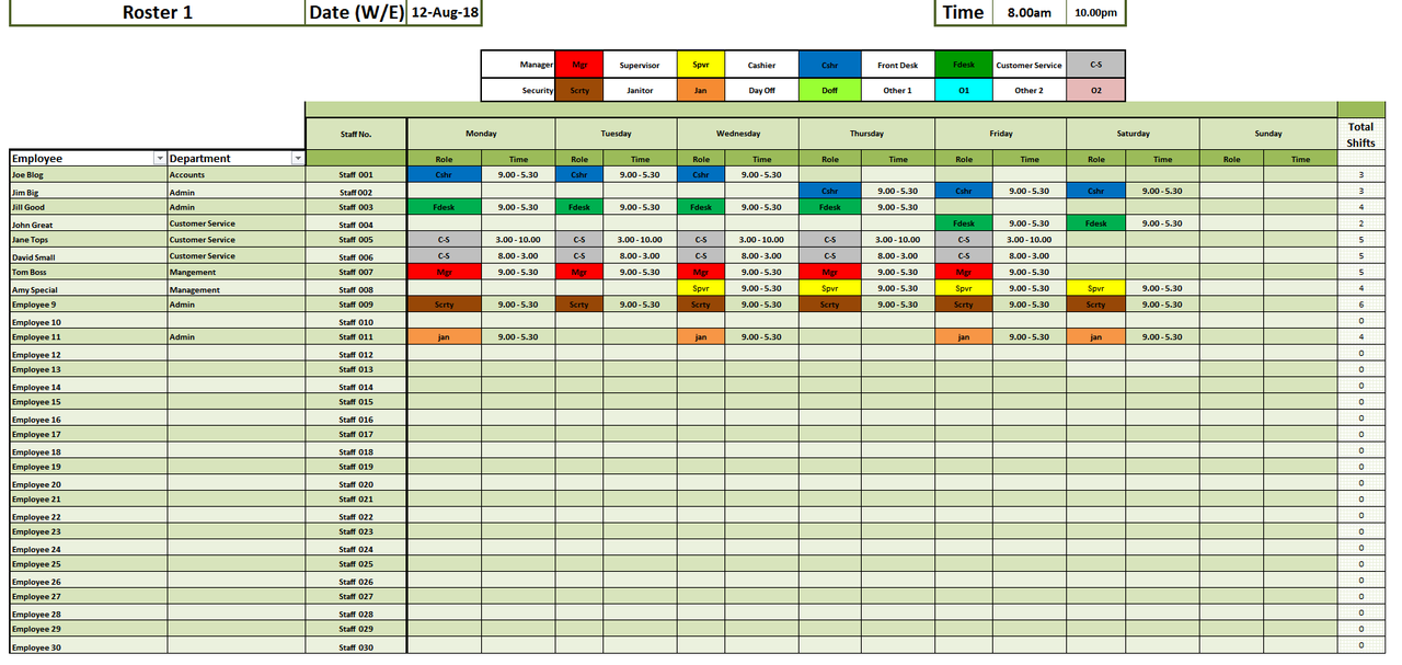 Staff Rostering and Employee Scheduling Excel Template