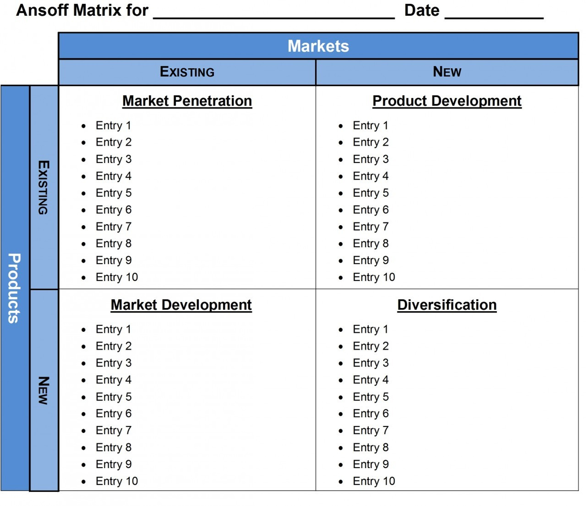 ansoff matrix product market growth template excel word powerpoint