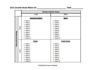 Boston Consulting Group Matrix template Word 2007, 2010, 2013