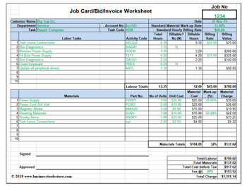 Labor & Material Cost Estimator, Quotation and Job Card Template (MS-Excel)