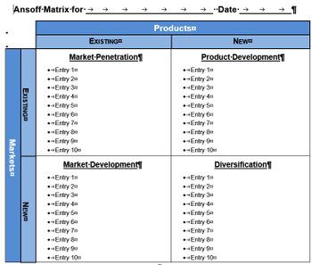 Ansoff Matrix Template for MS-Word
