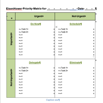 Eisenhower / Urgent Important Matrix Template for Word, Text version