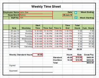 Timesheet Template Excel Weekly