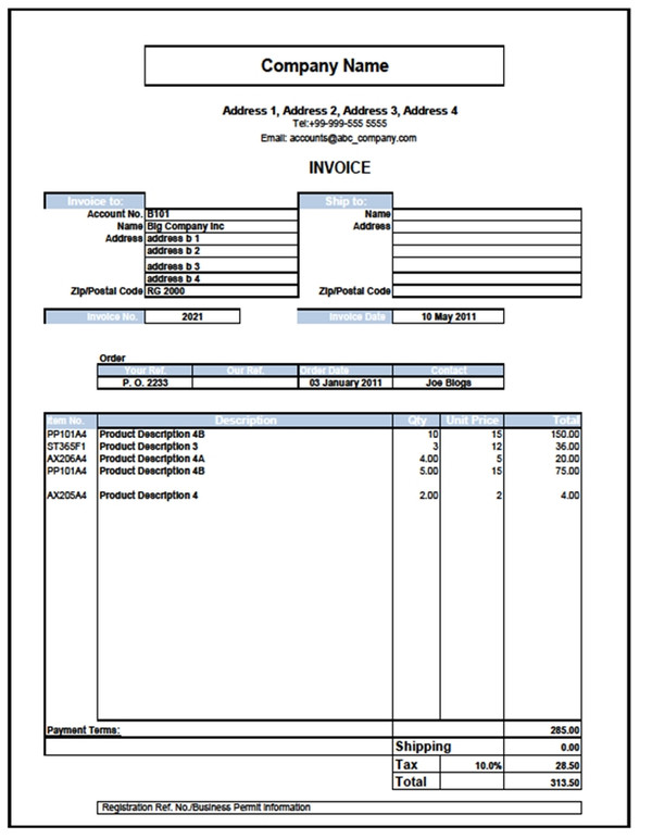 Excel 2007 templates for invoices