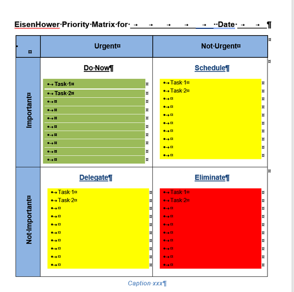 Eisenhower / Urgent Important Matrix Template for Word, traffic lights version