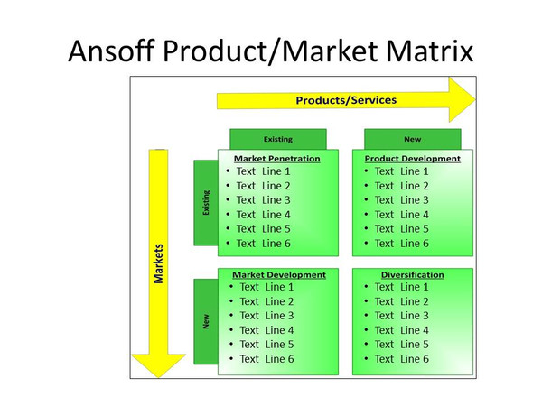 Ansoff's Product Market Strategy Matrix PowerPoint Template