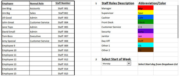 Staff Rostering / Employee Scheduling Excel Template set-up