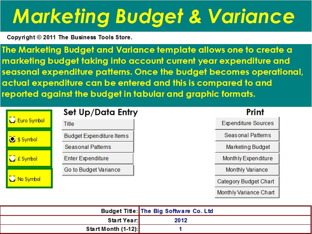 Marketing Excel Budget Template with Variance Analysis