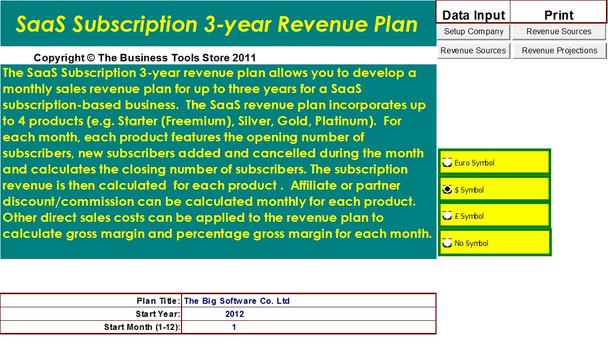 Revenue plan/budget menu