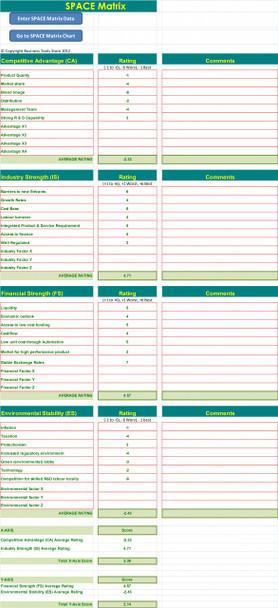 SPACE Matrix Excel Template