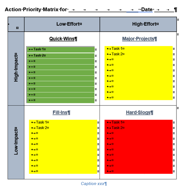 Action Priority Matrix Template for Word, traffic lights version