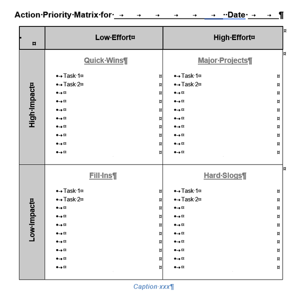 Action Priority Matrix Template for Word, Text Version