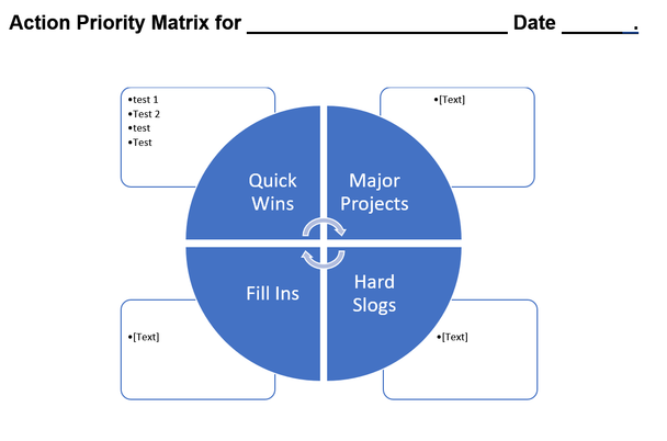 Action Priority Matrix Template for Word, Graphic version